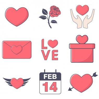 Simple illustration set valentine icon with love, gift, flower, text, calendar, and hand pink color flat design pack icon