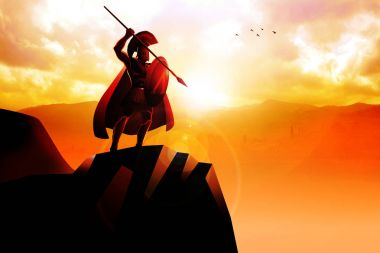 Spartan hoplite standing on the cliff with spear and shield stock vector