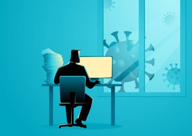 Vector illustration of a man working from home during the coronavirus outbreak stock vector