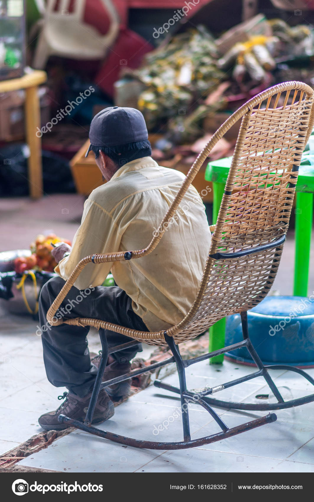 Old Man Sitting On Rocking Chair Stock Editorial Photo