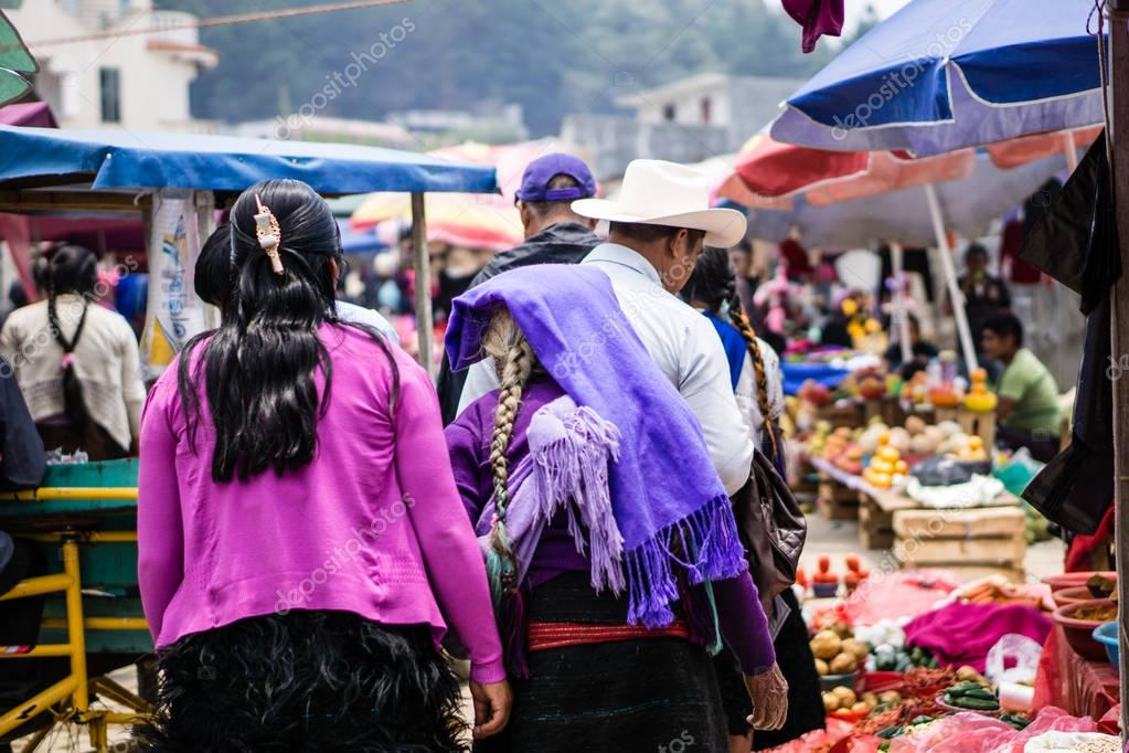 Traditional Maya woman on market in Chamula Mexico