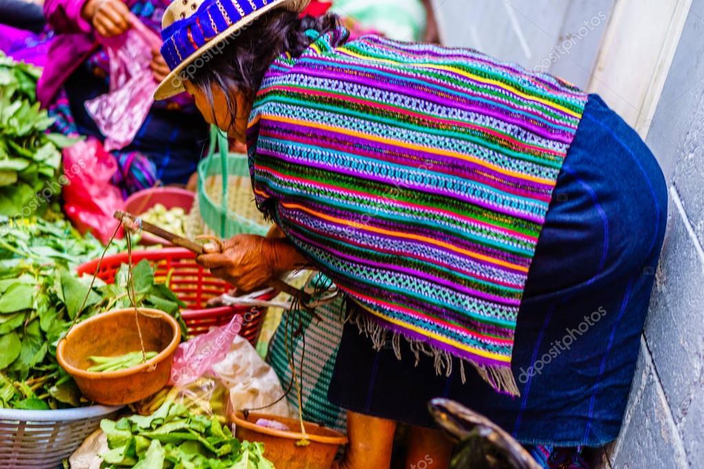 Maya woman on market in Chichicastenango in Guatemala