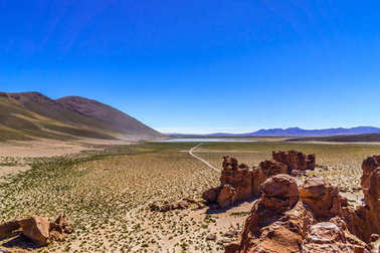 Siloli Desert in Altiplano of Bolivia by Uyuni