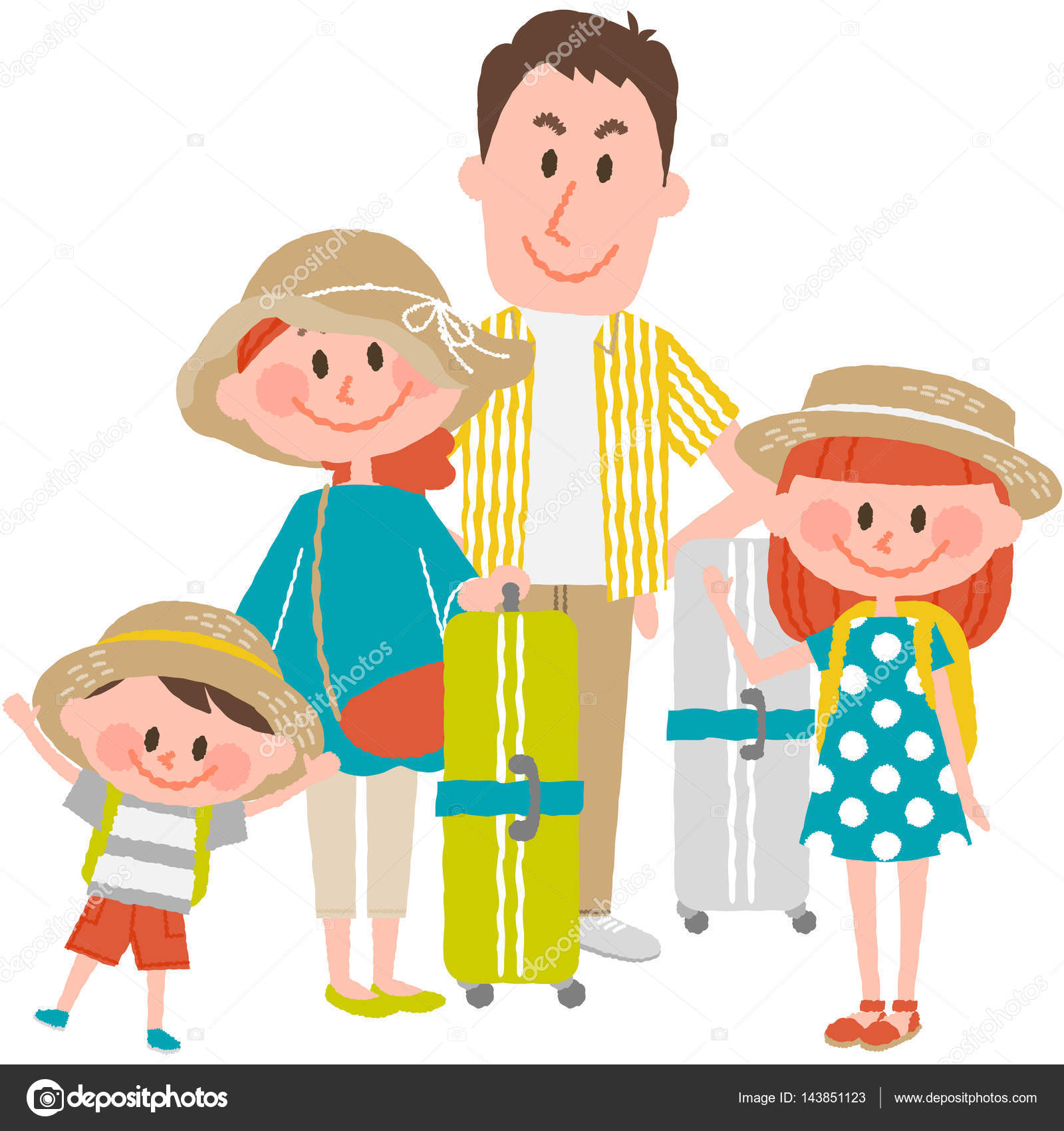 A Vector Illustration Of Good Family Going To Travel By Mastersacco Works