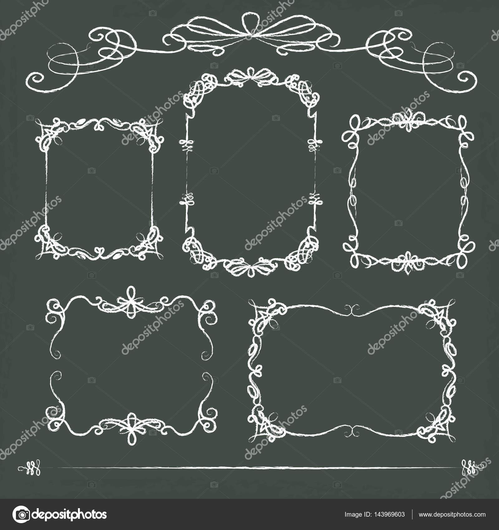 5 hand drawn chalkboard frames — Stock Vector © master@sacco-works ...