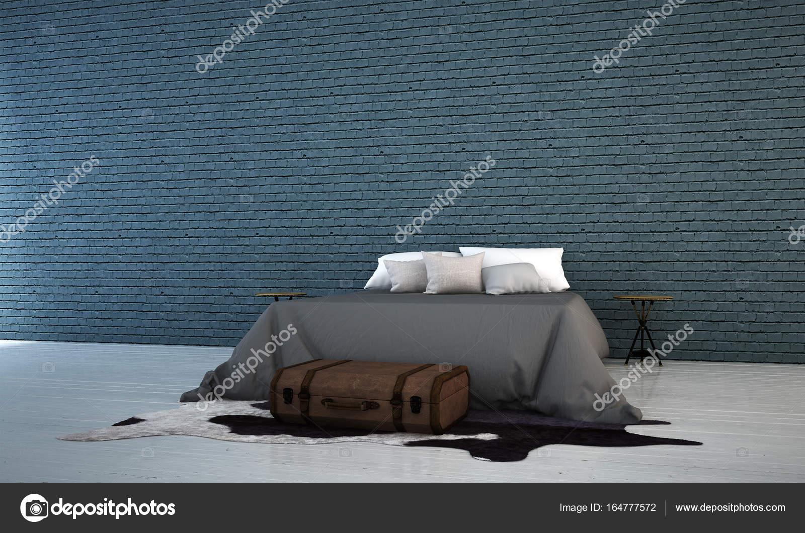 Interieur Ice Blauw : De slaapkamer interieur en blauw bakstenen muur achtergrond