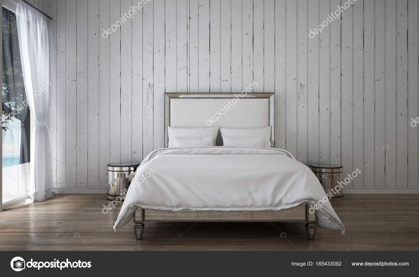 De luxe wit slaapkamer interieur en hout muur achtergrond ...