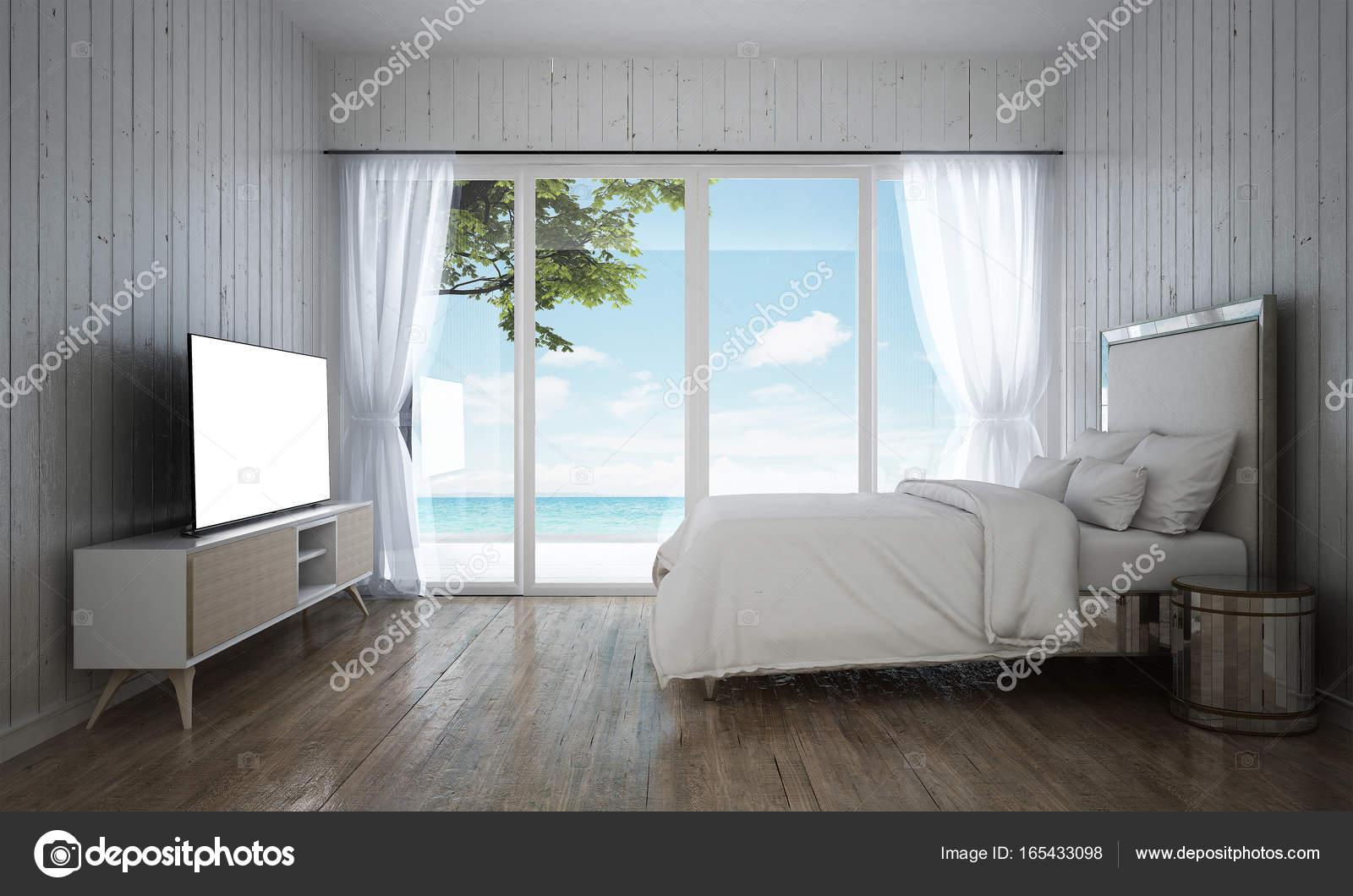 de luxe wit slaapkamer interieur en hout muur achtergrond en uitzicht op zee stockfoto