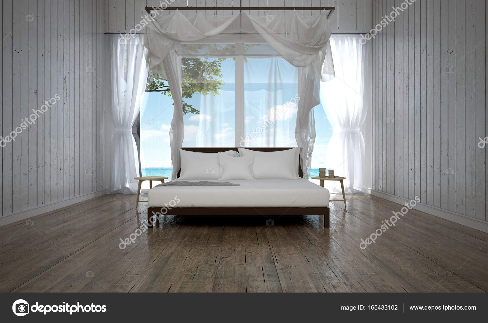 The Luxury Bedroom Interior Design And Wood Wall Background And Sea View Stock Photo Image By C Teeraphan 165433102