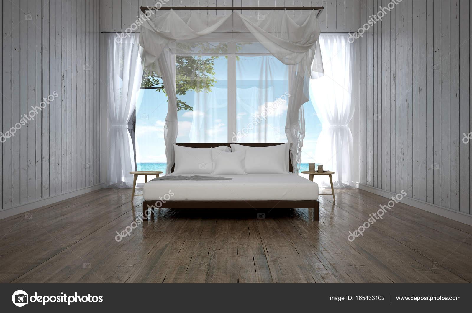 Die Luxus Schlafzimmer Innenarchitektur Und Holz Wand Hintergrund Und  Meerblick U2014 Stockfoto