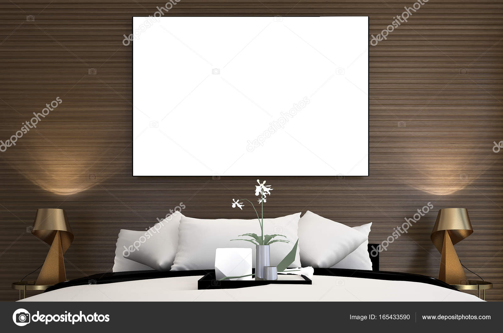Die minimale Schlafzimmer Innenarchitektur und Holz Textur ...