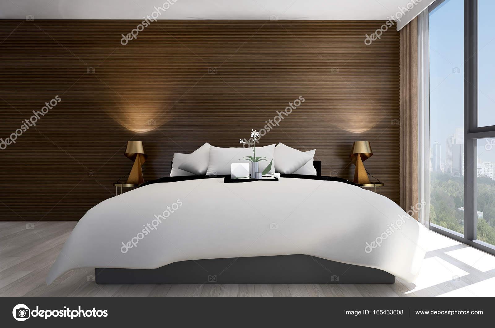 Luxe Interieur Ontwerp : De luxe slaapkamer interieurontwerp en hout textuur en appartement