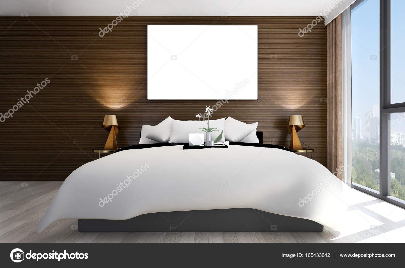 Luxe Slaapkamer Interieur : Het luxe slaapkamer interieur en hout muur textuur en foto frame