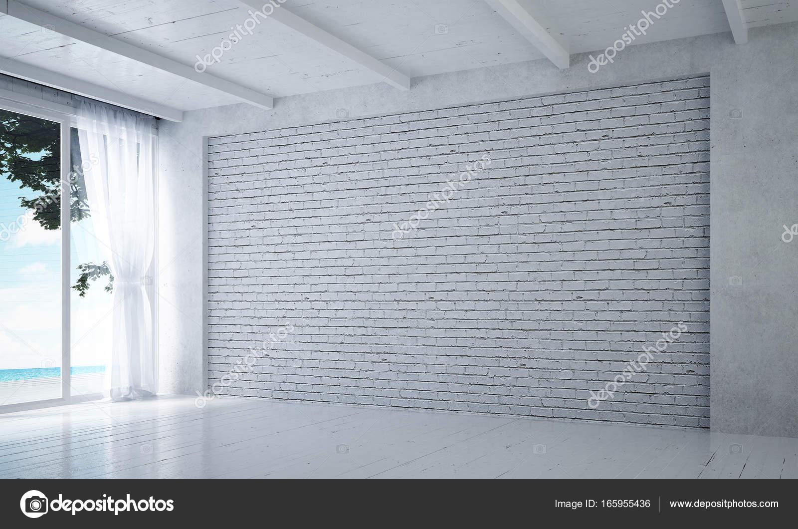 Die Innenausstattung des leeren weißen Wohnzimmer und weiße Ziegel ...