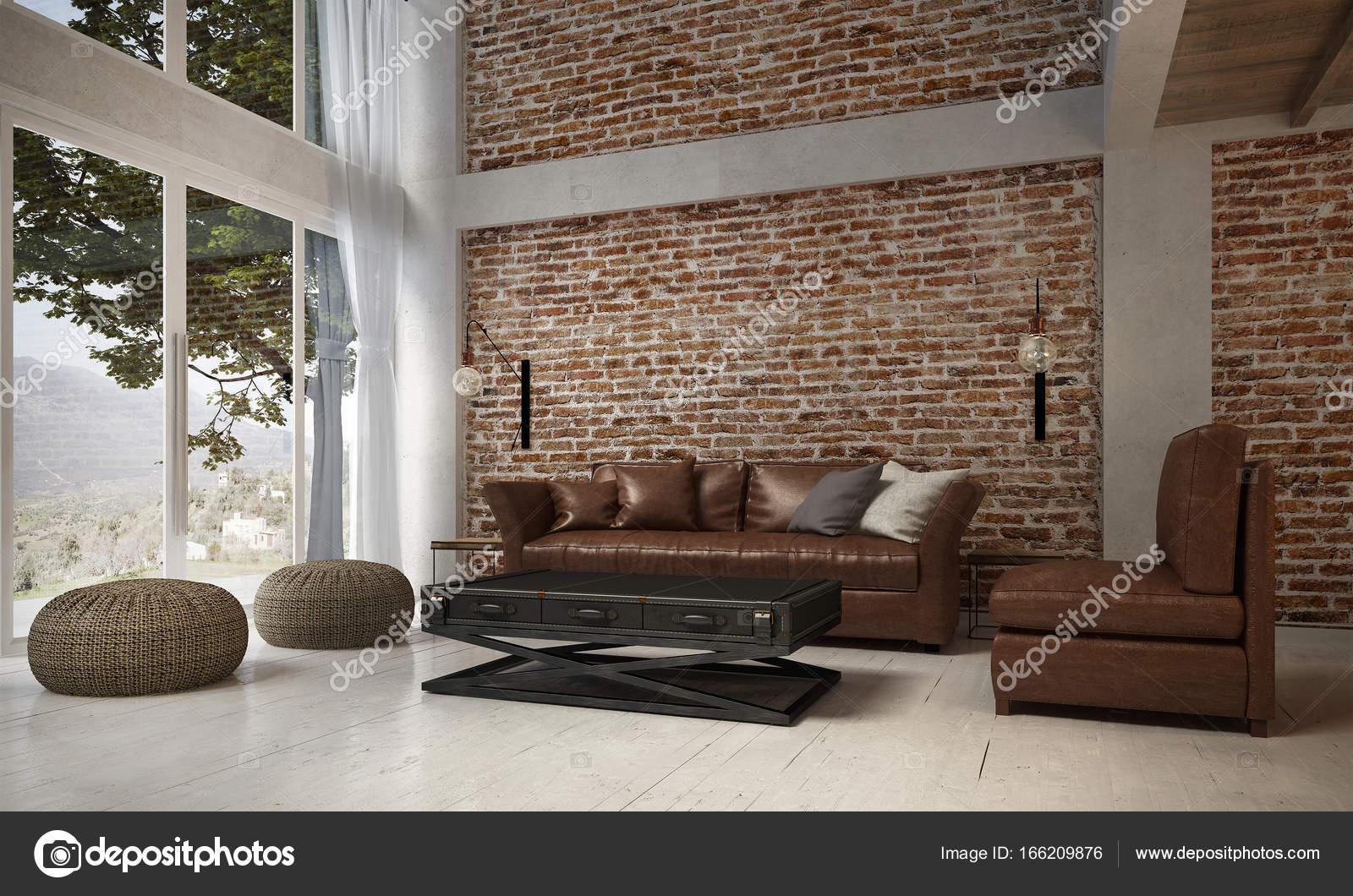 Het interieur van de lounge en de woonkamer en de lederen sofa set ...