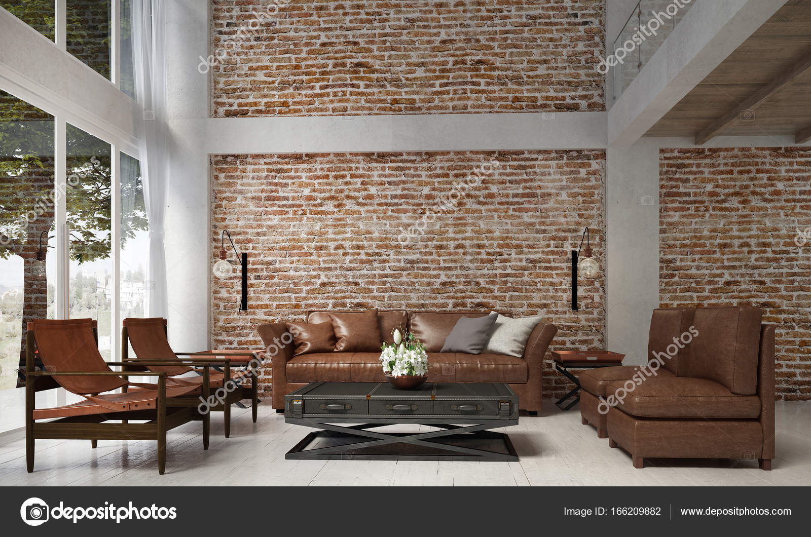 The Interior Design Of Loft Lounge And Living Room And Leather Sofa Set And Red  Brick Wall Texture / 3D Rendering New Scene New Design U2014 Photo By Teeraphan