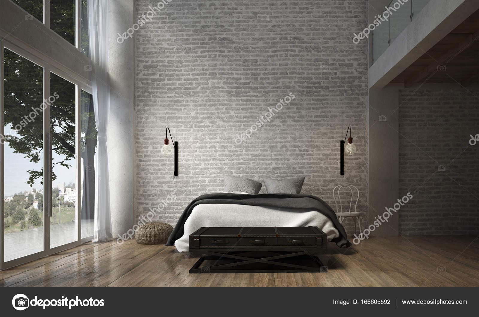 Wnętrze Sypialni I Cegły ściany Tekstura Tło 3d