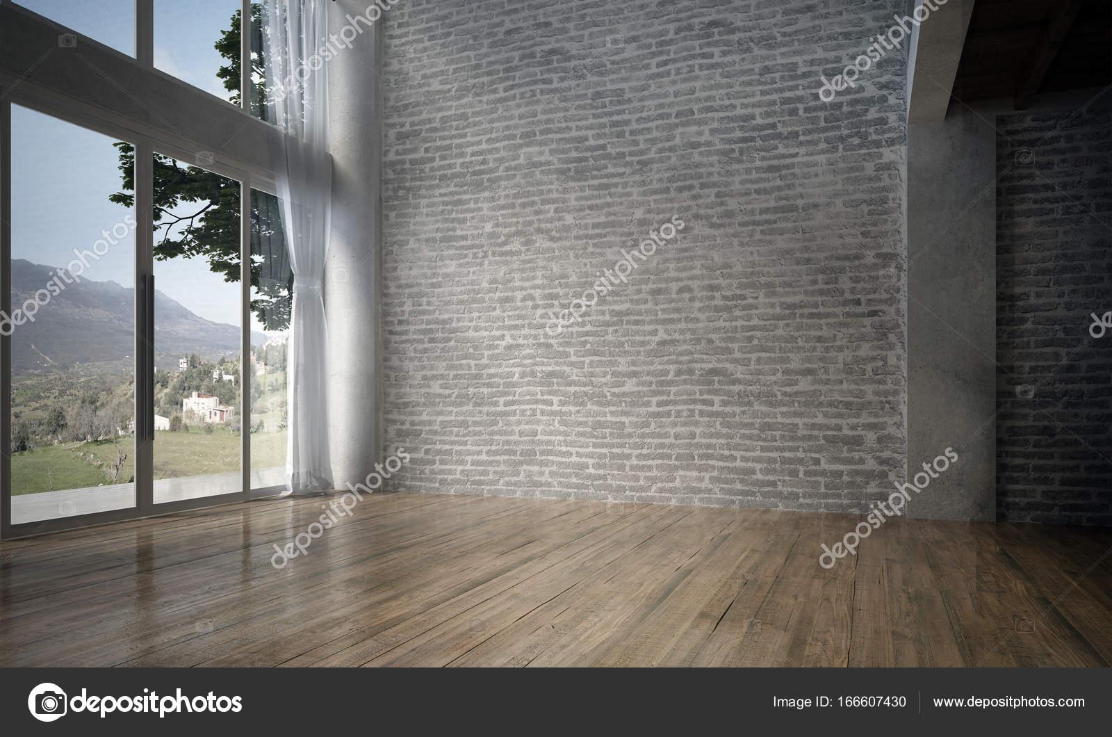Die Innenausstattung des leeren Zimmer und Wohnzimmer und Ziegel ...