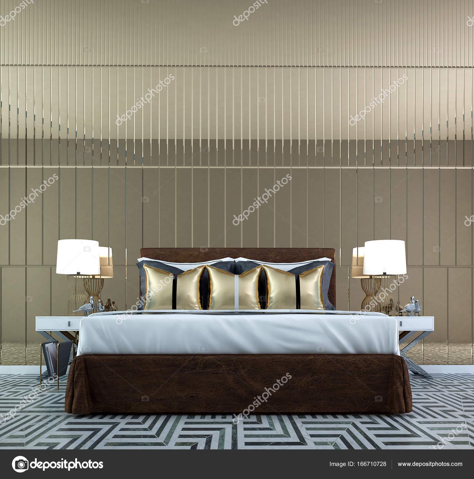 Das Interior Design Des Luxus Schlafzimmer Und Spiegel Wand Dekorieren /  3D Rendering U2014 Foto Von Teeraphan