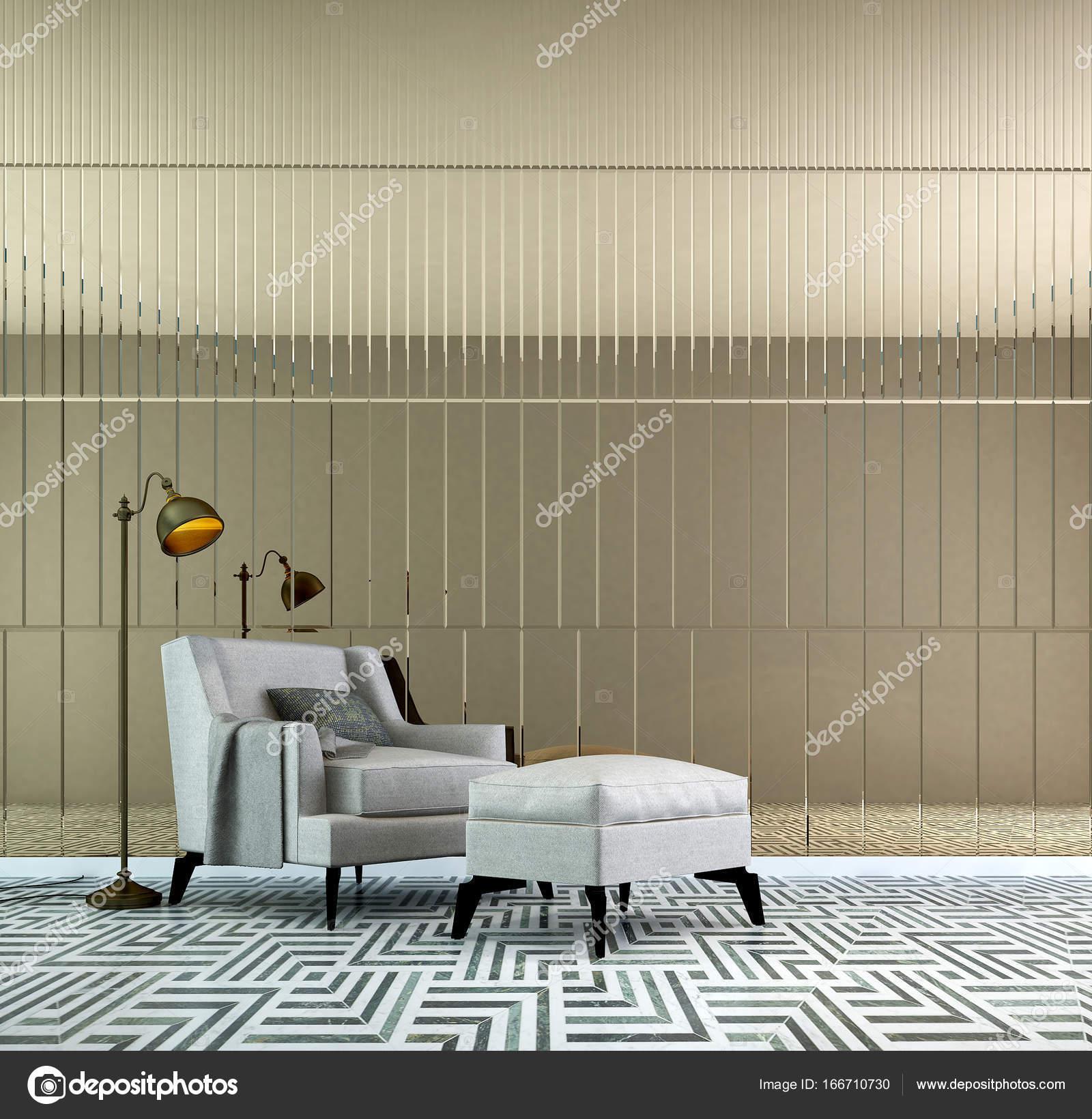 Il design degli interni del salotto di lusso, soggiorno e specchio a ...