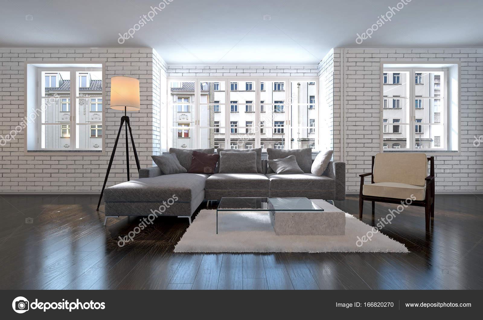 Das interior design der lounge und wohnzimmer und wohnung