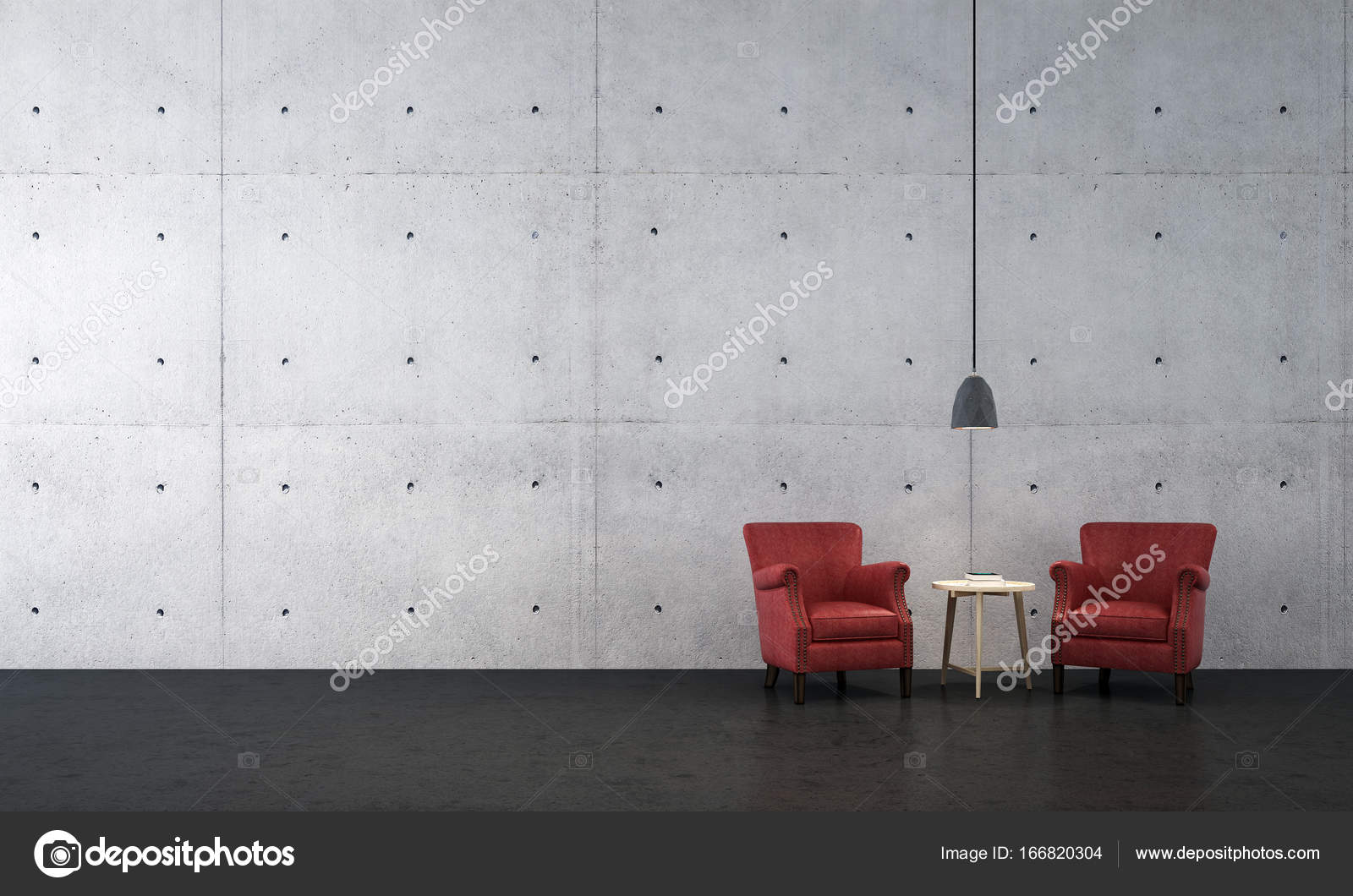 Das Interior Design der Lounge Sofa und Wohnzimmer und Beton Wand ...