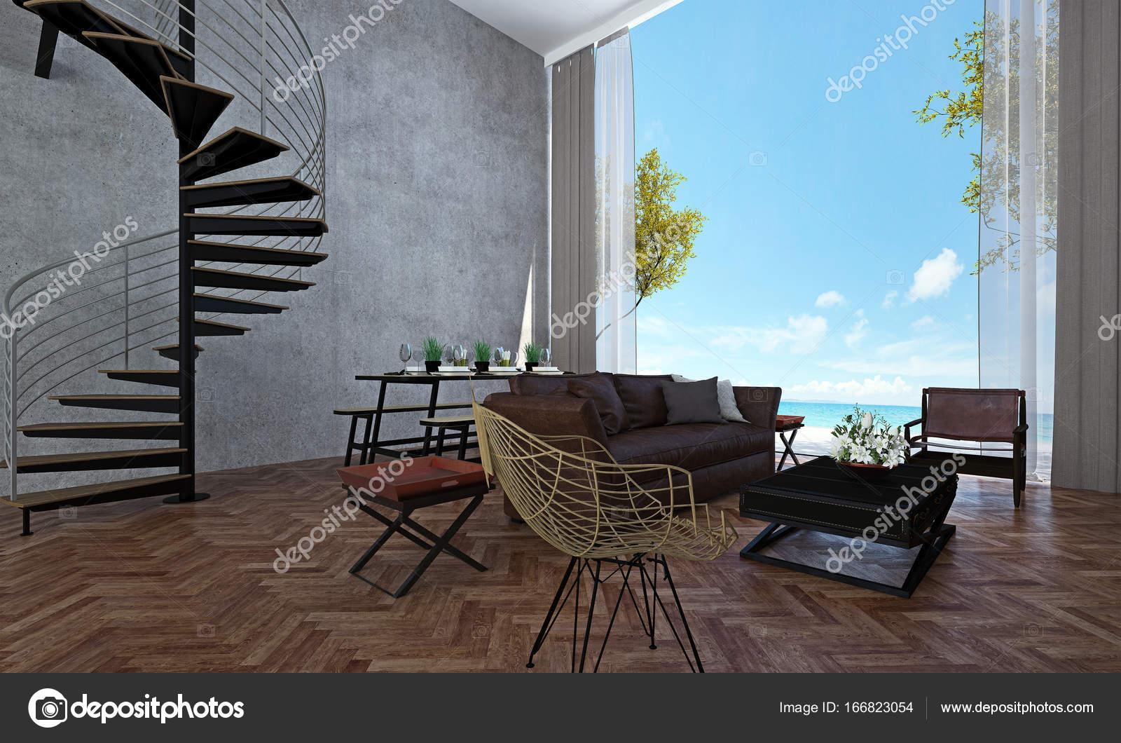 Het interieur van lounge- en woonkamer en eetkamer and sea view en ...