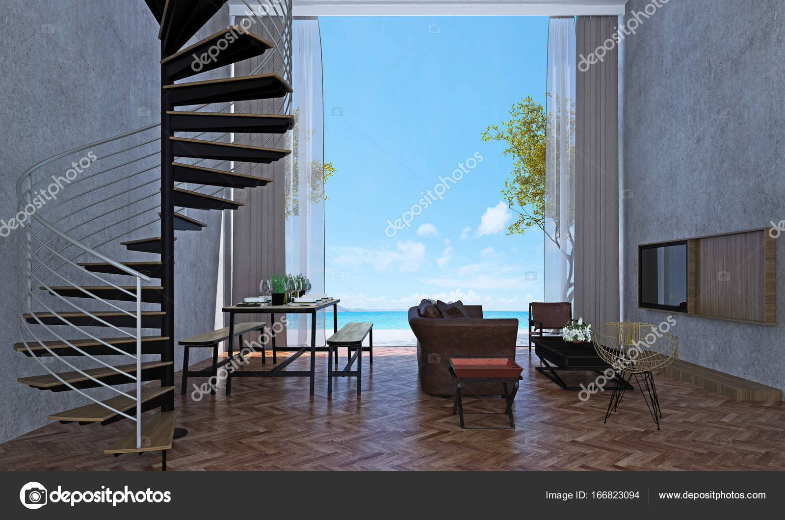 Das interior design der lounge und wohnzimmer und esszimmer und