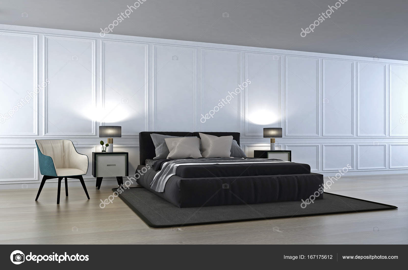 3D Rendering Interieur Design Der Moderne Luxus Schlafzimmer Und Weiße Wand  Muster U2014 Foto Von Teeraphan