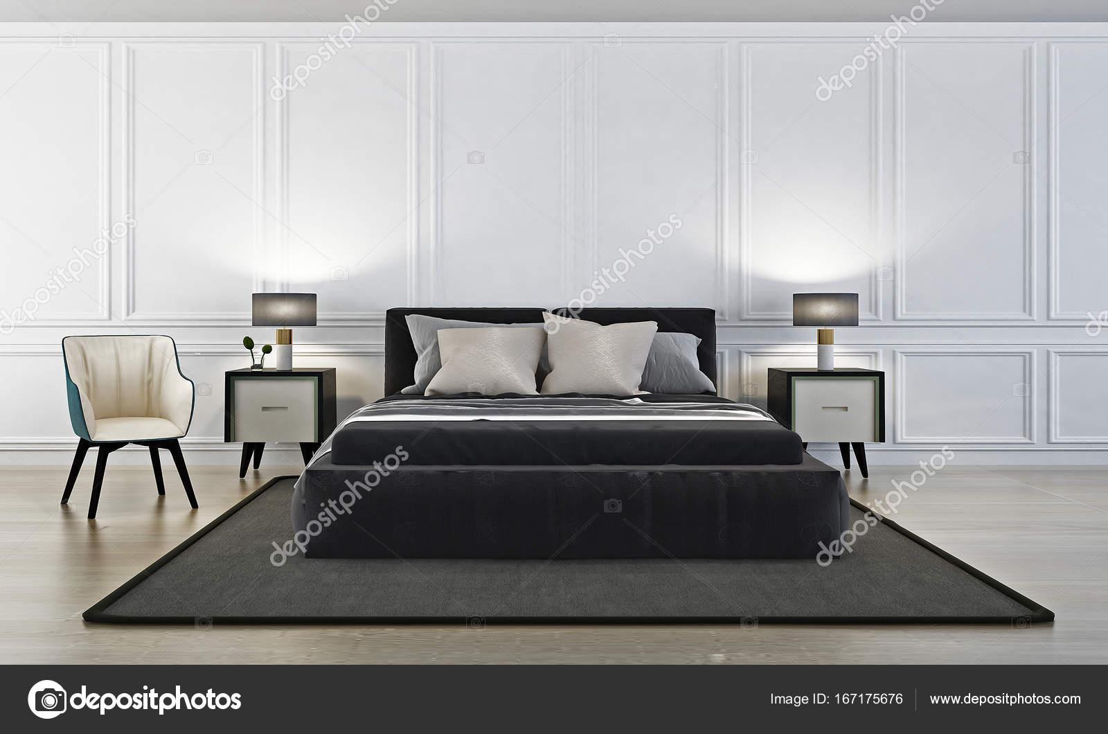 Interieur-Design der moderne Luxus Schlafzimmer und weiße Wand ...