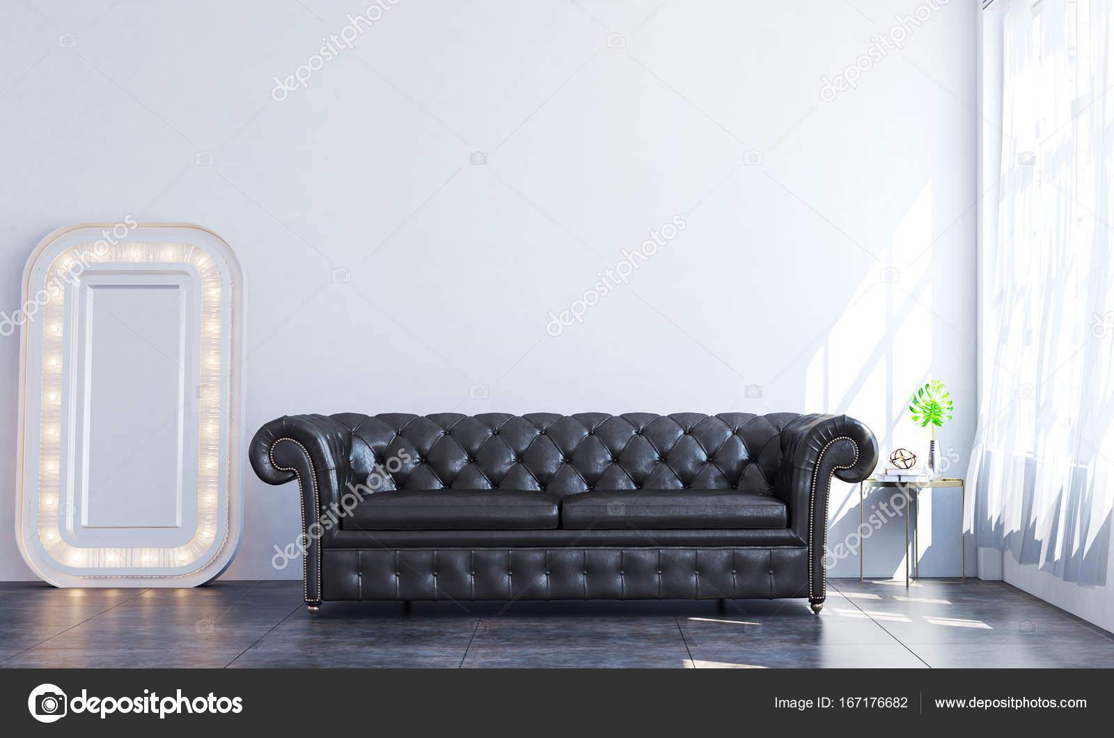 Woonkamer Zwarte Bank : De zwarte bank in de witte muur woonkamer interieur minimalistische