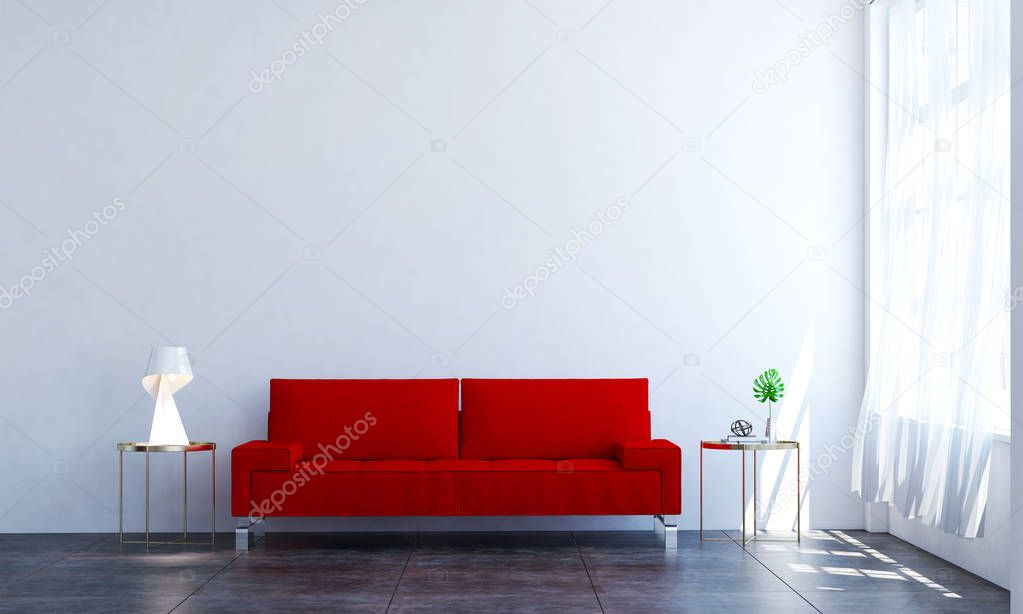das rote sofa in der wei en wand wohnzimmer interior design stockfoto teeraphan 167176782. Black Bedroom Furniture Sets. Home Design Ideas
