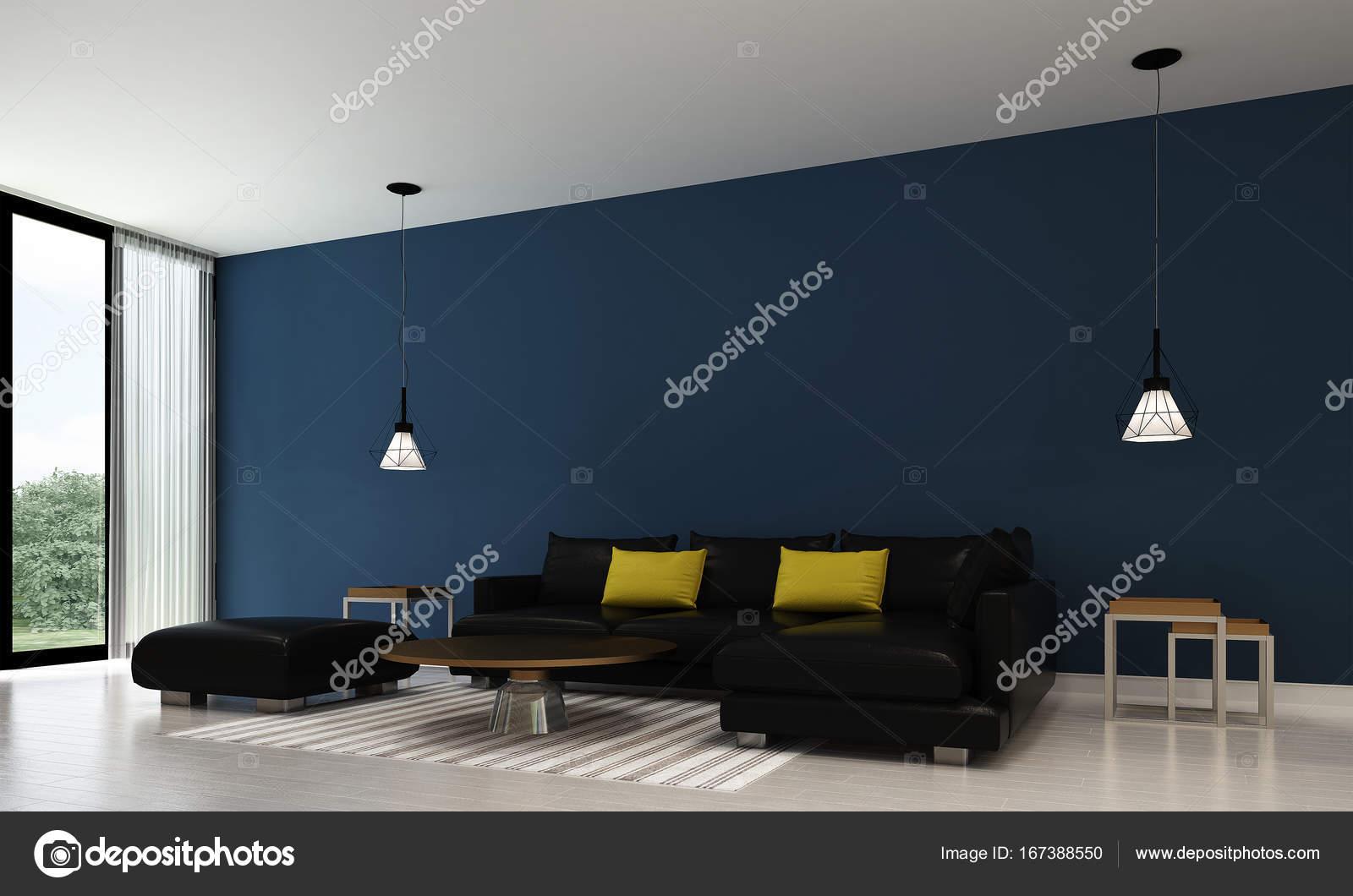 Het interieur van woonkamer en blauw muur textuur — Stockfoto ...