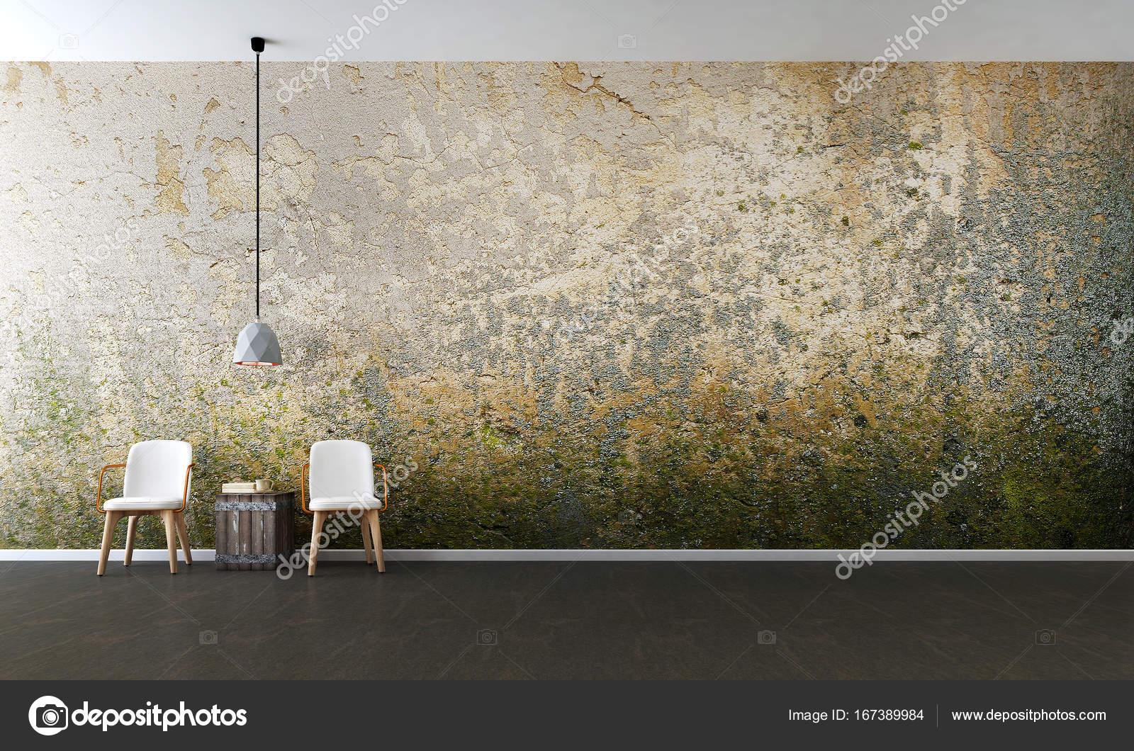 Die Innenausstattung des minimalen Wohnzimmer und schmutzigen Wand ...