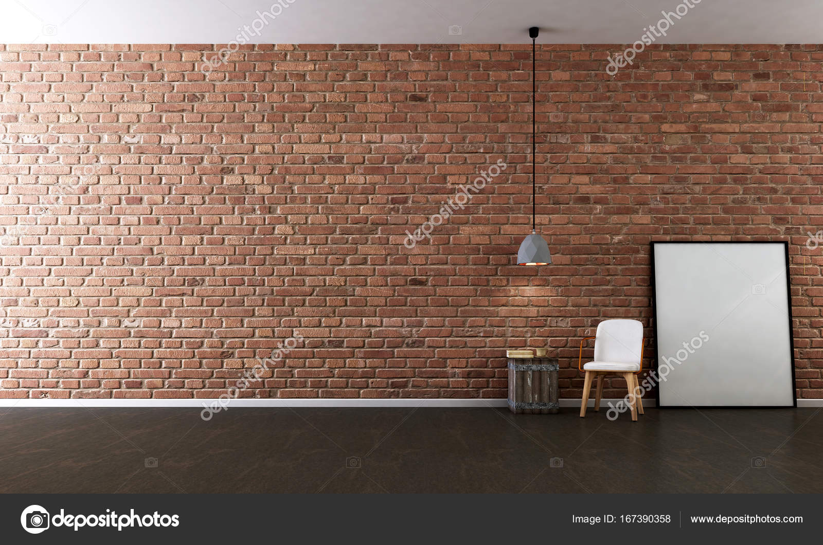 The Interior Design Of Minimal Living Room And Red Brick Wall