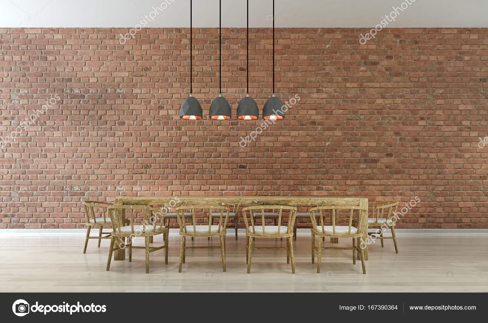 The Interior Design Of Minimal Dining Room And Red Brick Wall