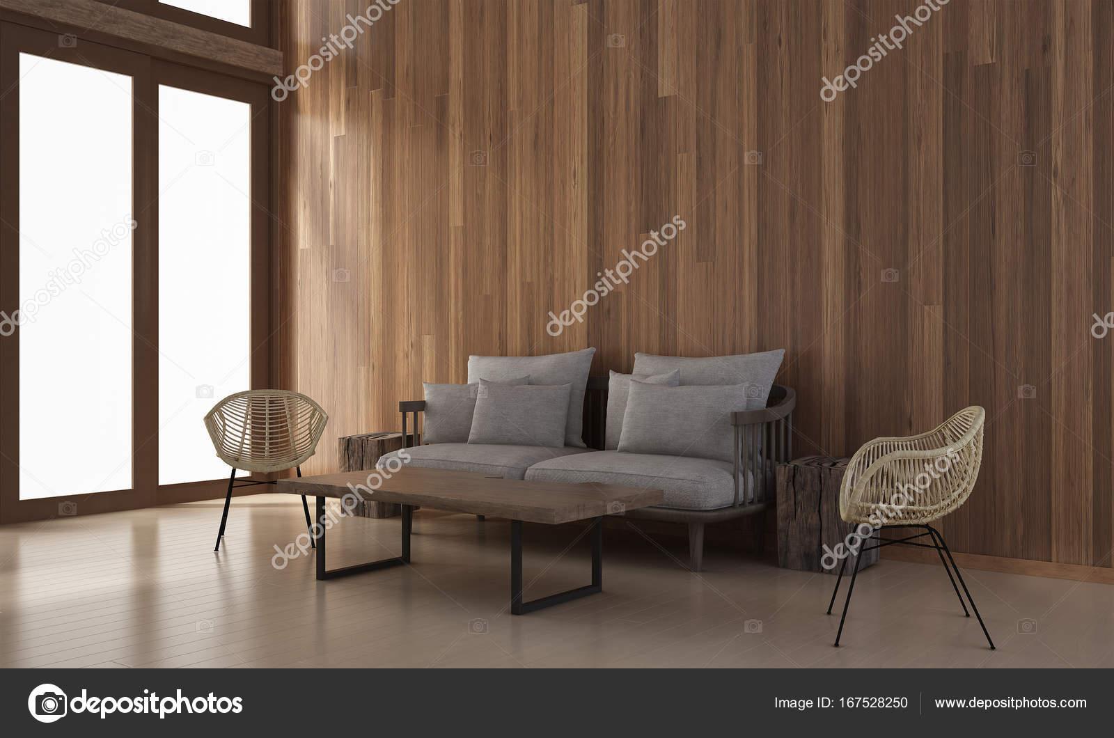 Die Innenausstattung des minimalen Wohnzimmer und Holz Wand Textur ...
