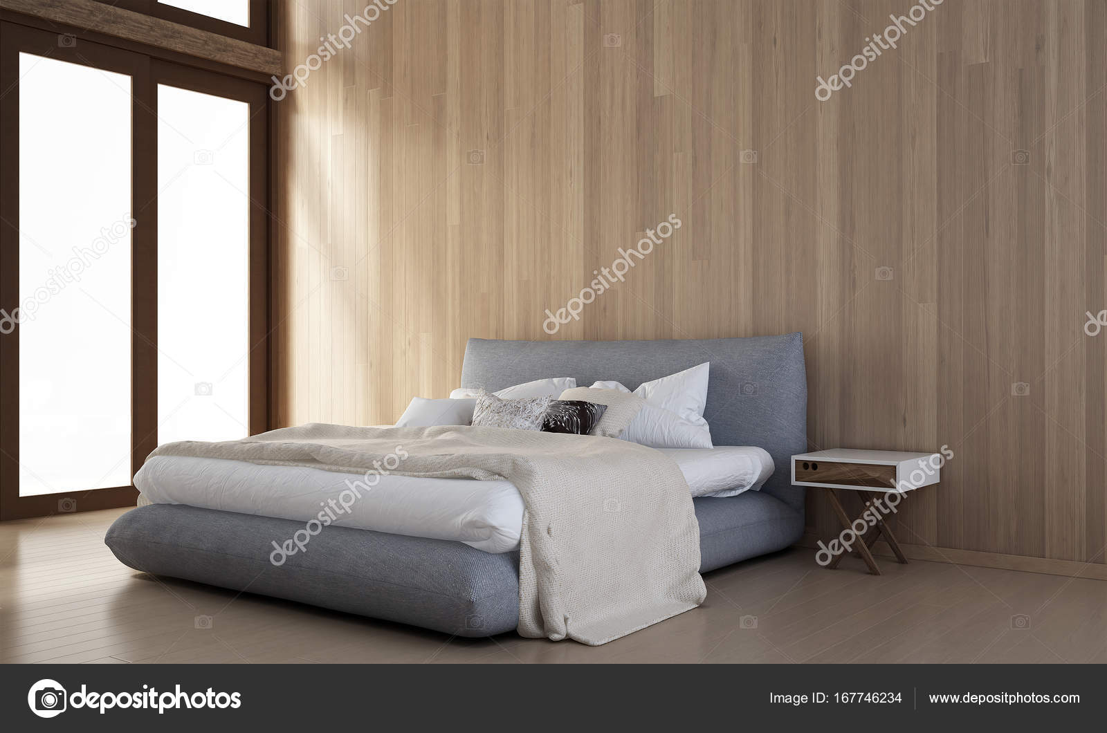 The bedroom interior design and wood wall texture — Stock Photo ...
