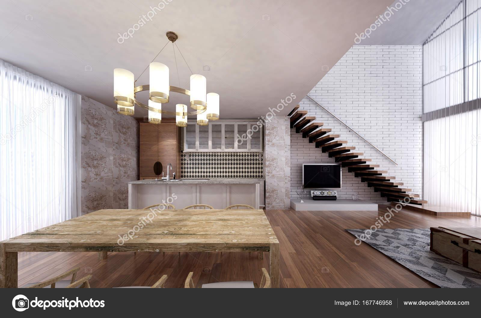 El diseño interior de sala comedor y cocina y la Casa loft ...