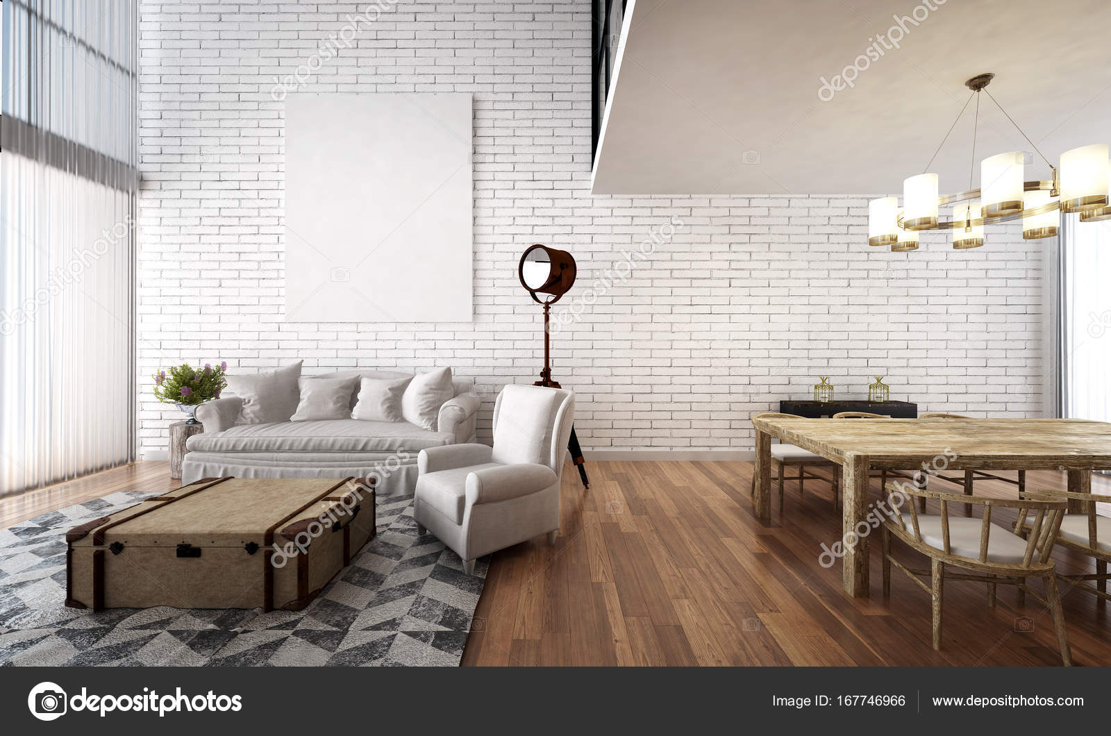 The interior design of living room and dining room and white brick ...