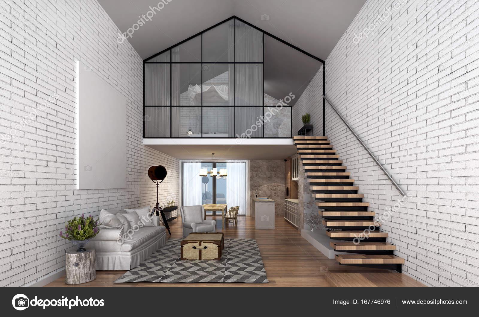 Loft Haus und Wohnzimmer Interior Design und weiße Mauer — Stockfoto ...
