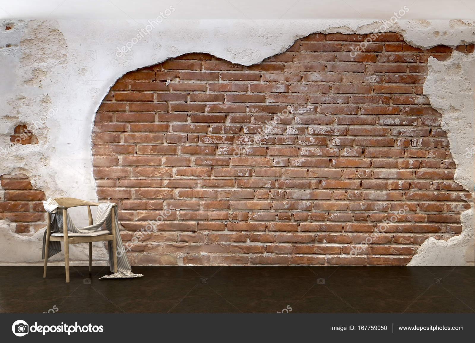 Das Interior Design der Lounge Stühlen Wohnzimmer und Ziegel Wand ...