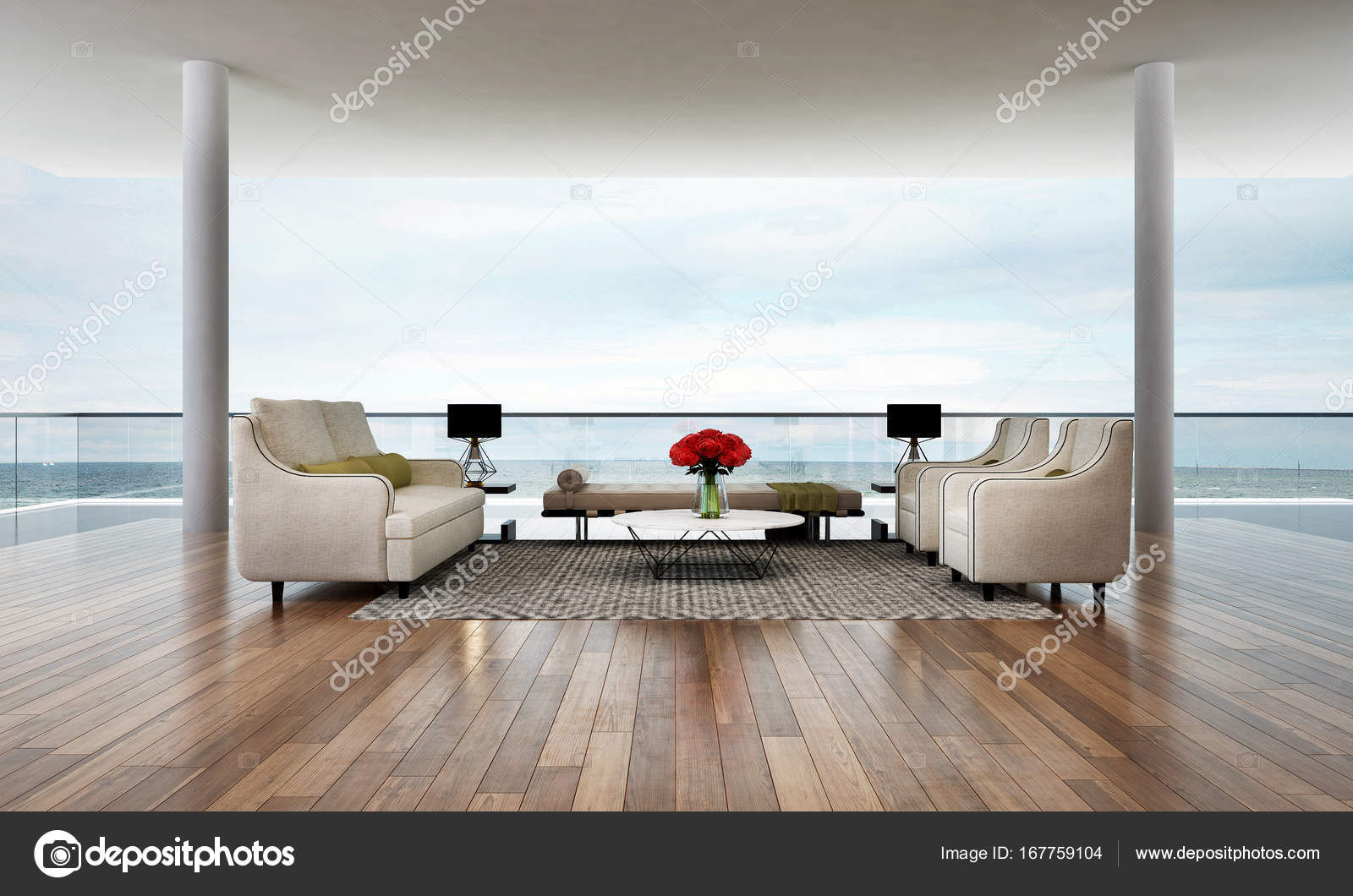 Het interieur van de minimale lounge en woonkamer en uitzicht op zee ...