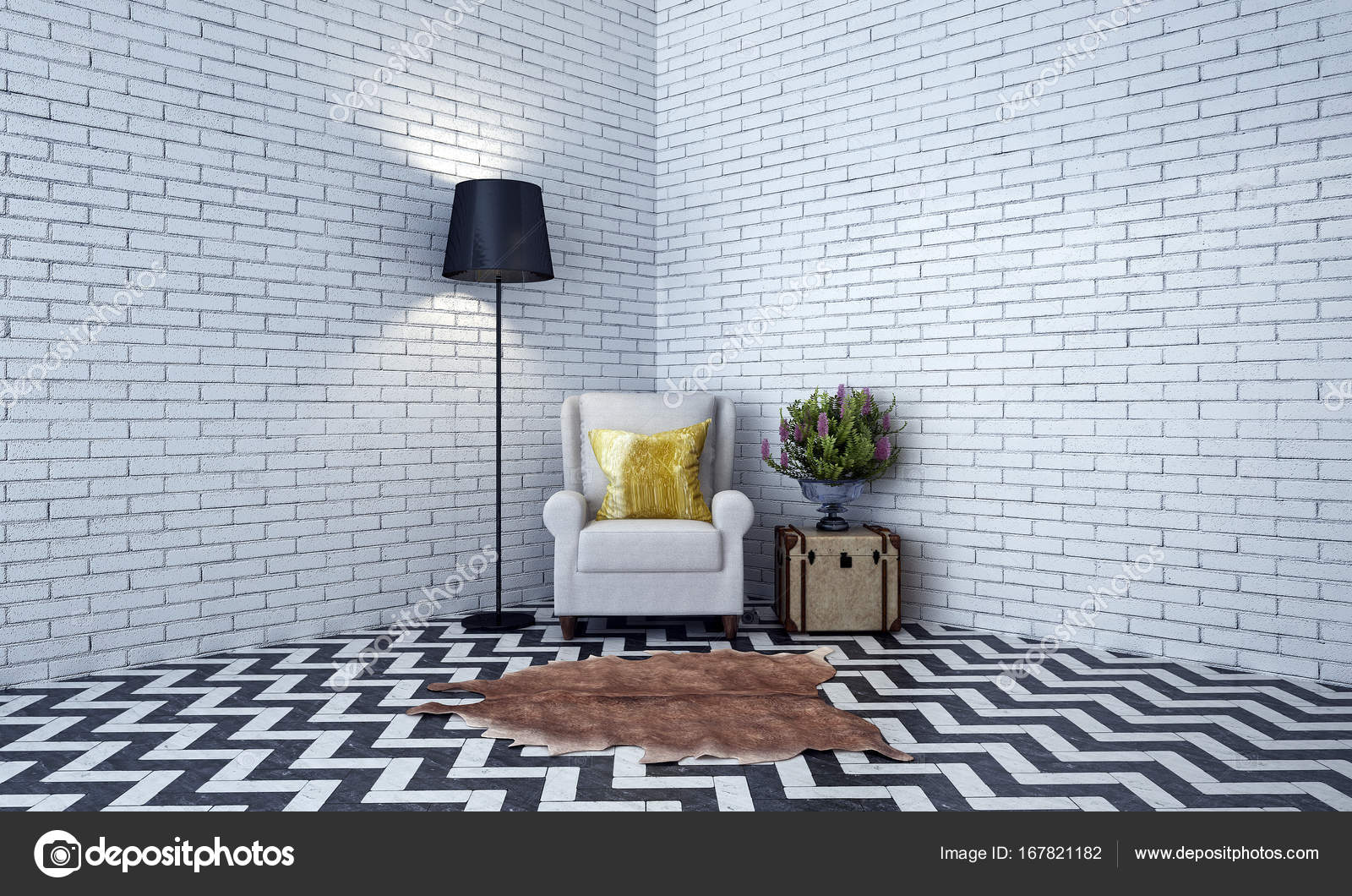 Lounge Stoel Woonkamer : Interieur design lounge stoel een woonkamer en een bakstenen muur