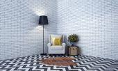 design interiéru lehátku a obývacího pokoje a cihlová zeď