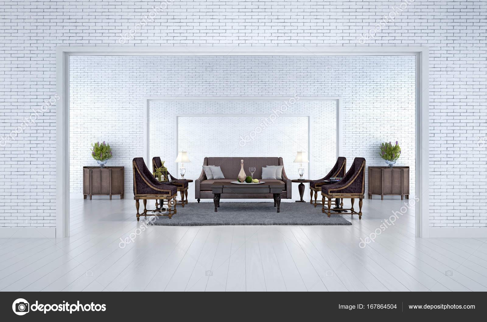 Die Innenarchitektur Idee minimal Wohnzimmer und weiße Ziegel Wand ...