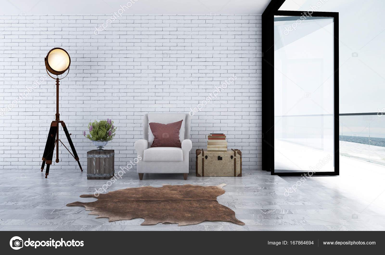 Het interieur design idee van minimale woonkamer en witte bakstenen