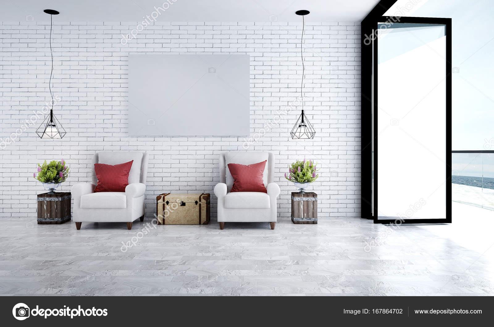 Het interieur design idee van minimale lounge stoelen en witte ...
