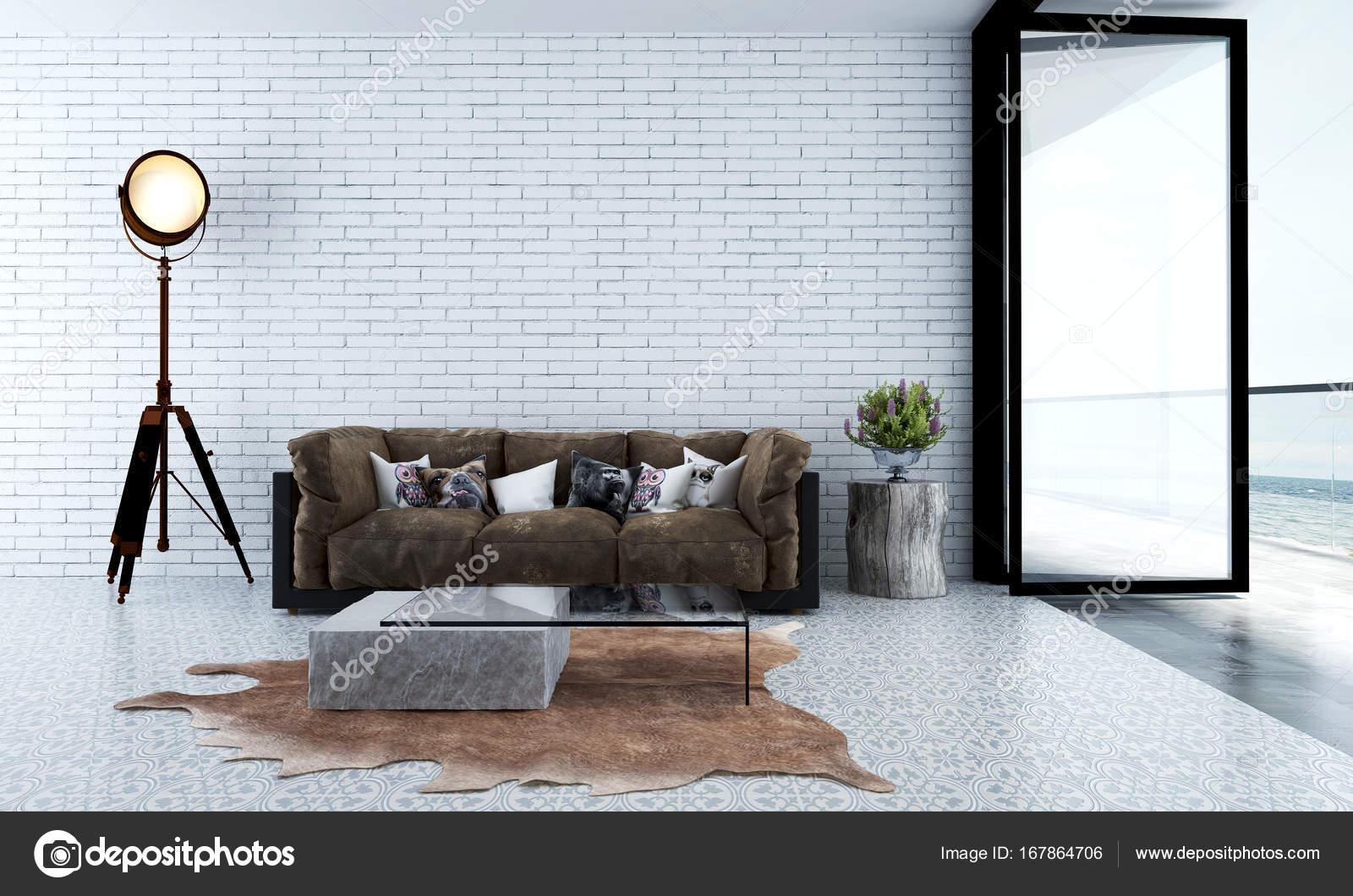 Het interieur design idee van minimale lounge sofa en witte
