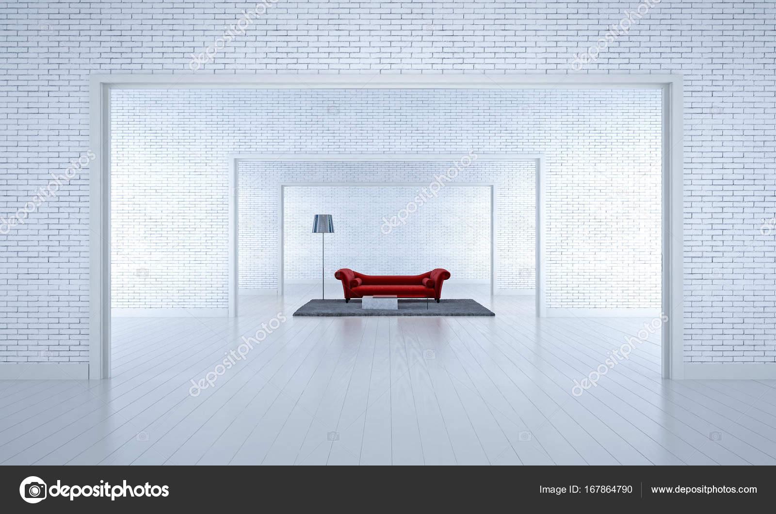 Het interieur design idee van rode sofa woonkamer en witte bakstenen
